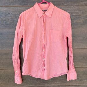 VINCE | Pink Cotton Long Sleeve Button Down Shirt